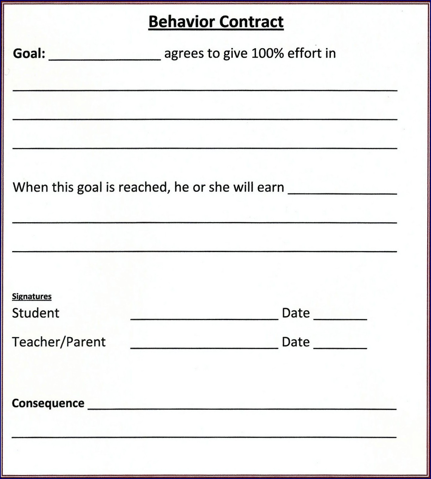 Behavior Contract for Adults Sample