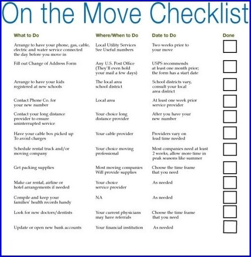 Business Moving Checklist Template Example