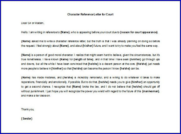 Character Letter of Recommendation Template Sample