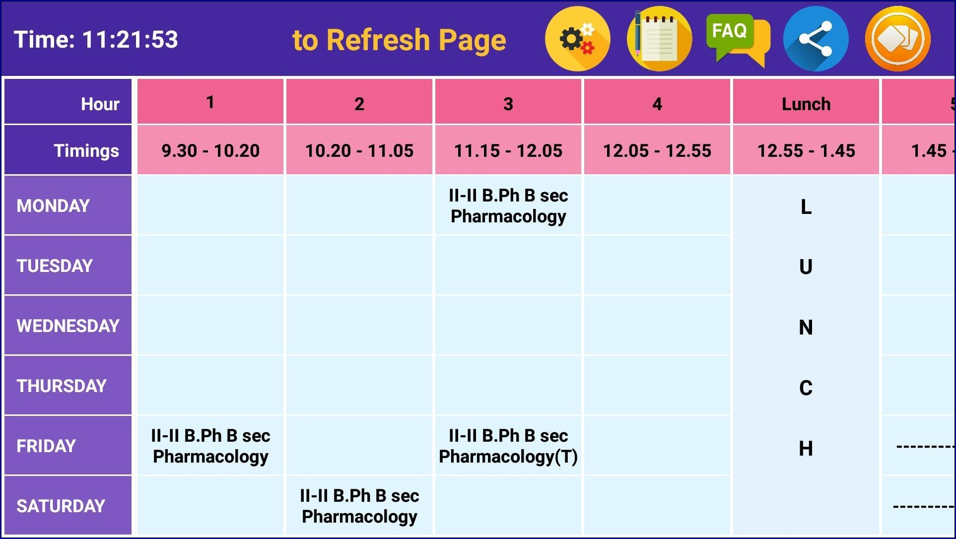 Class Timetable Sample