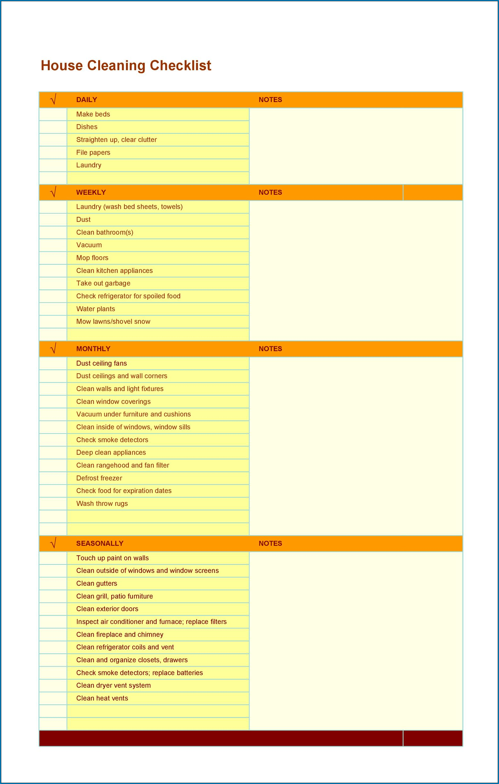 Cleaner Checklist Template Sample