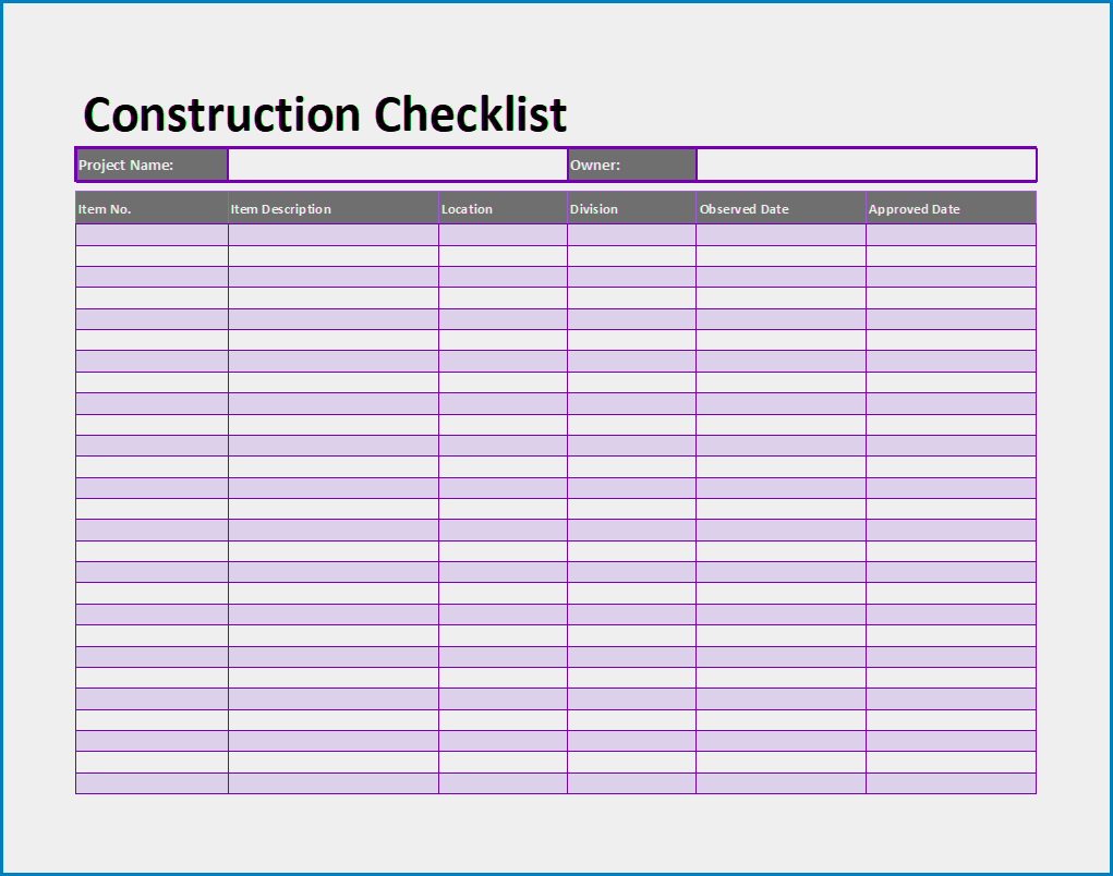 Free Printable Construction Checklist Template Excel