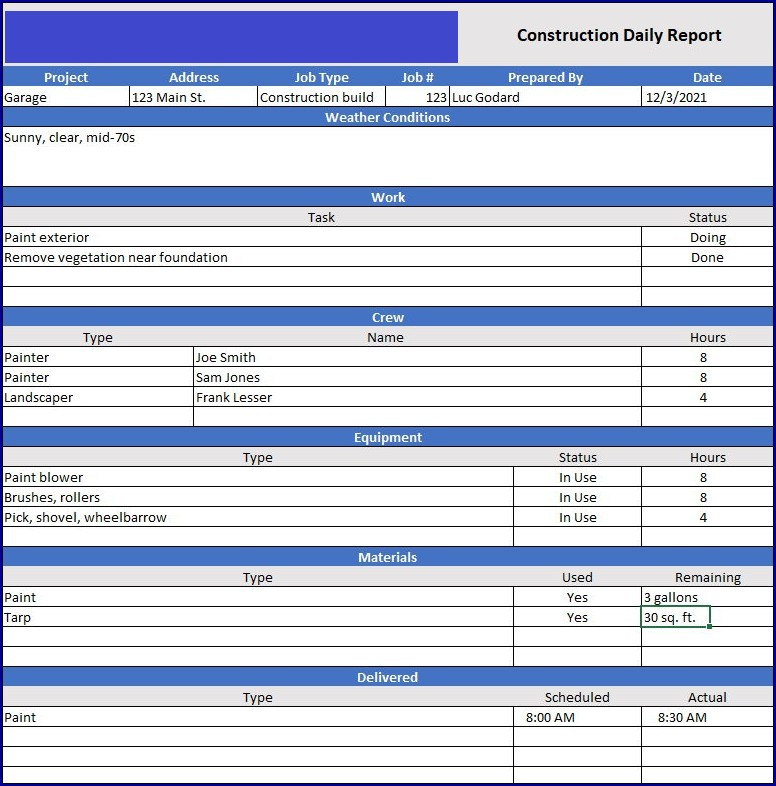 Construction Daily Report Example