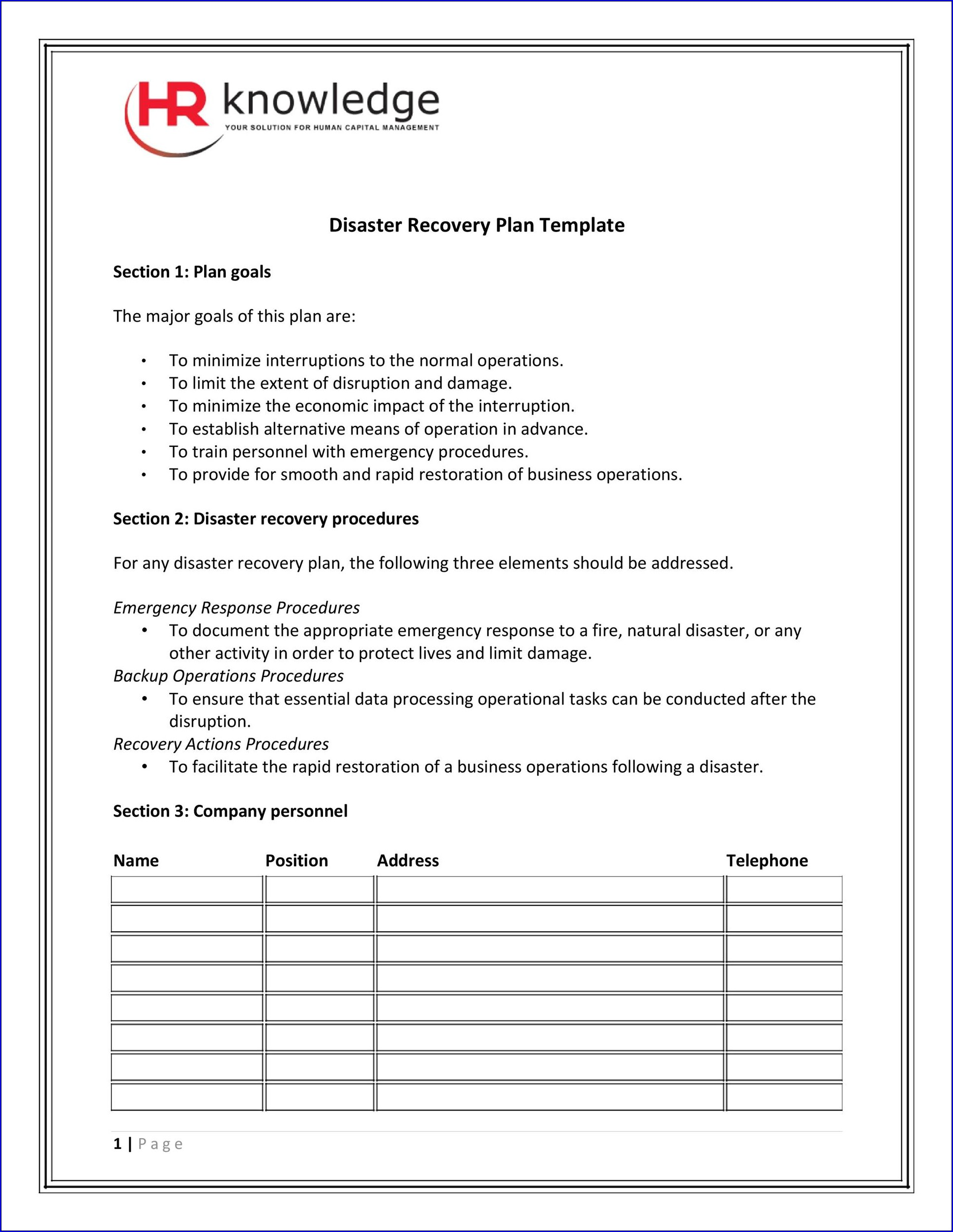 Disaster Recovery Checklist Template Example
