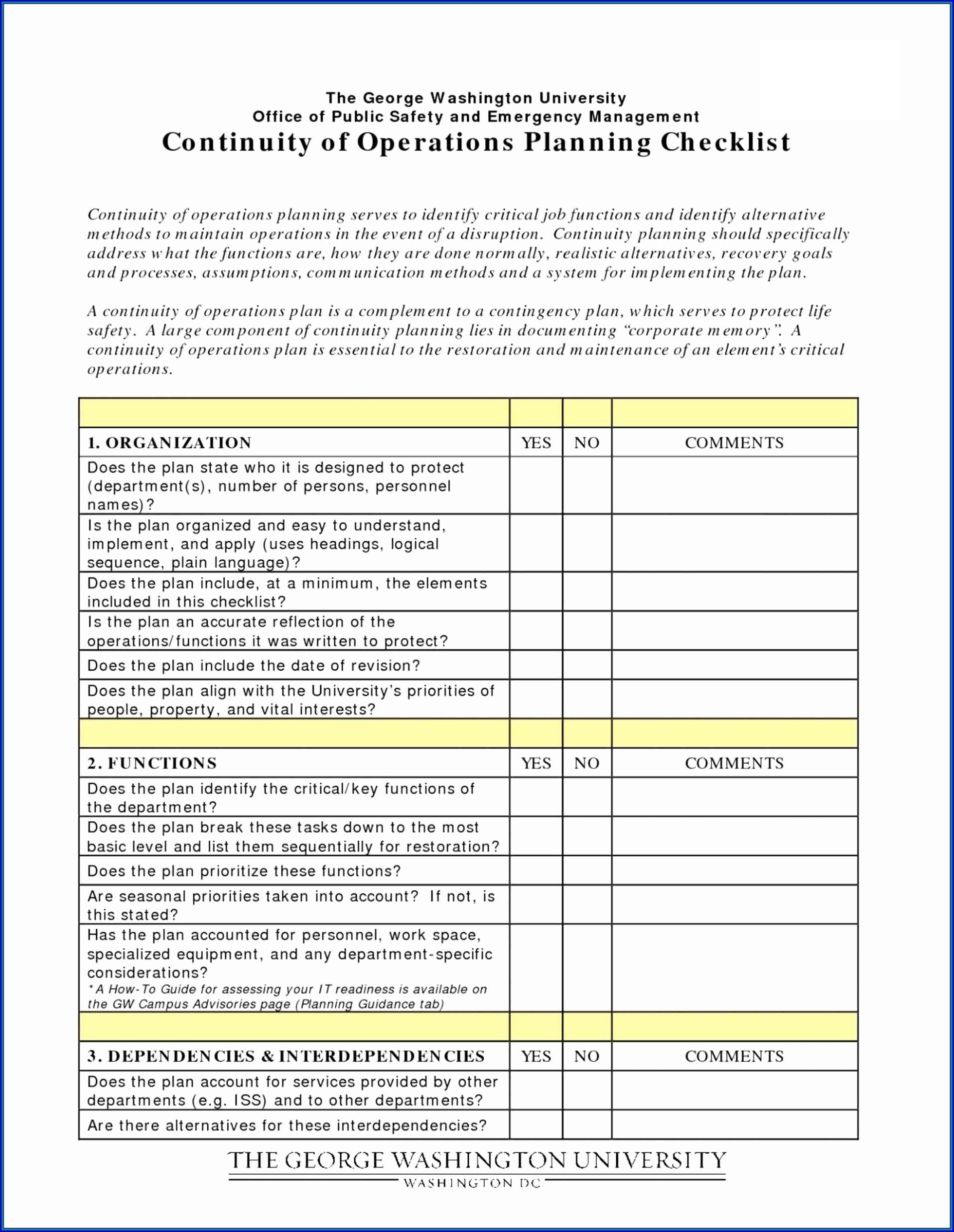 Disaster Recovery Checklist Template Sample