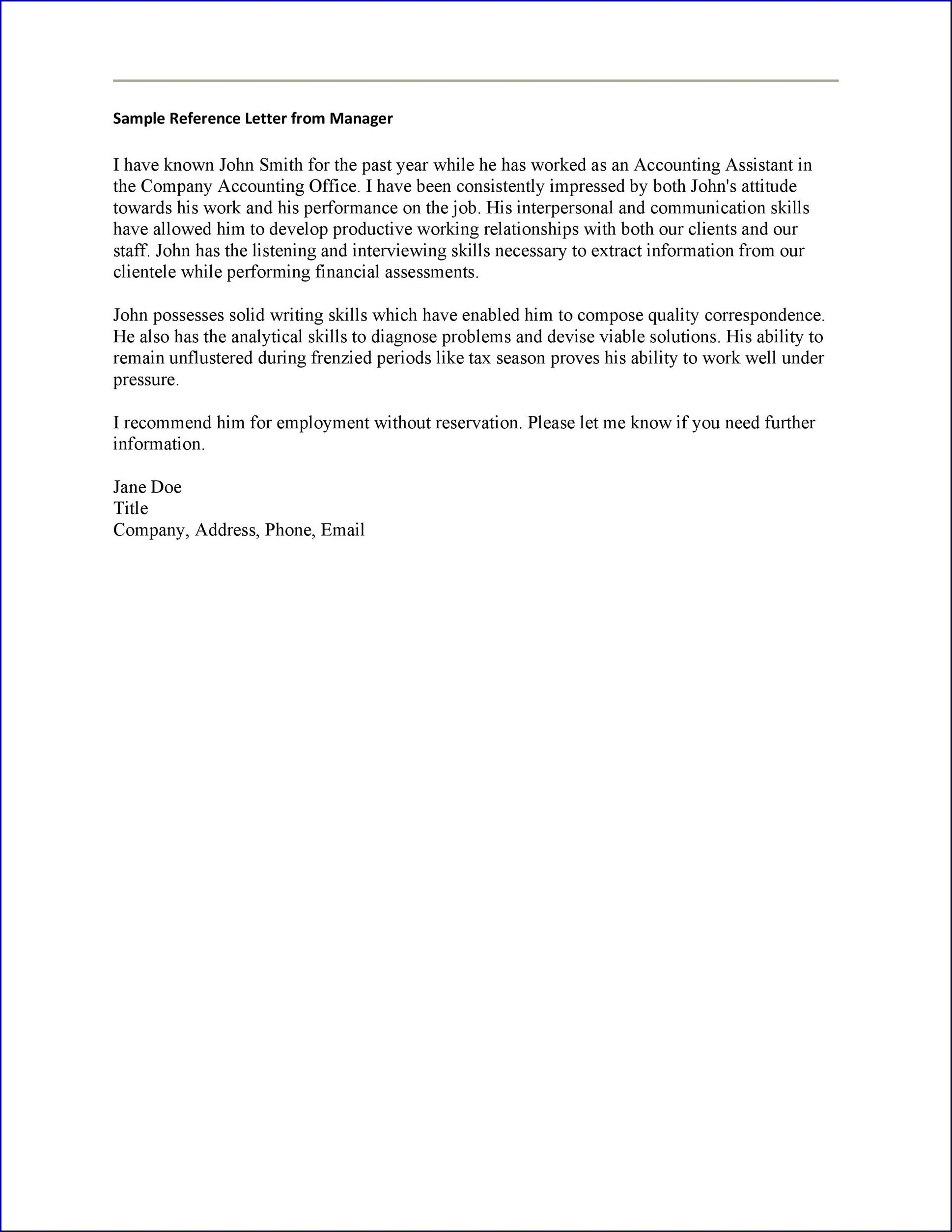 Employment Letter of Reference Template Example