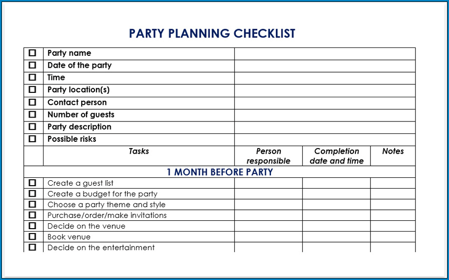 Events Planning Checklist Template Example