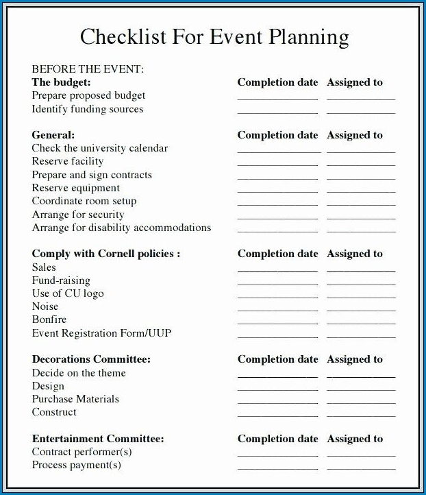 Events Planning Checklist Template Sample