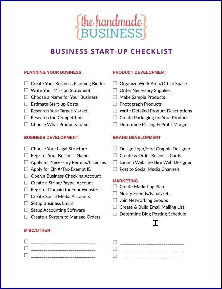 Example of Business Checklist Template