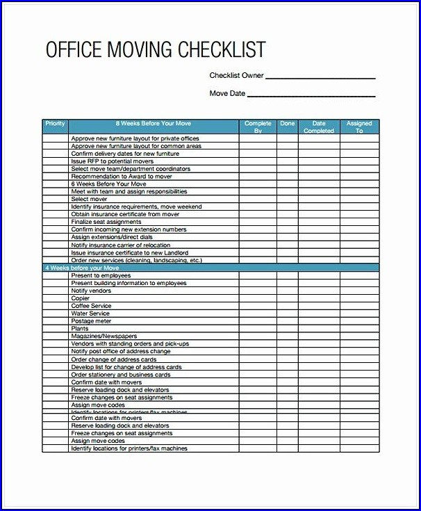 Example of Business Moving Checklist Template