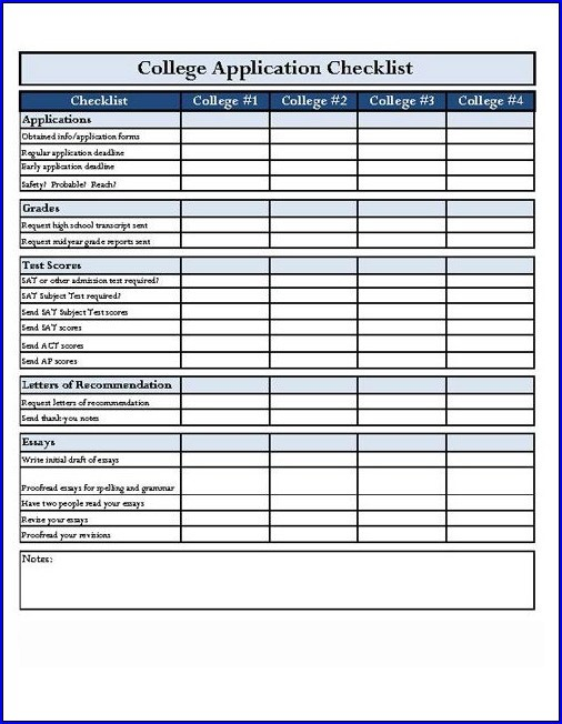 Example of College Application Checklist Template