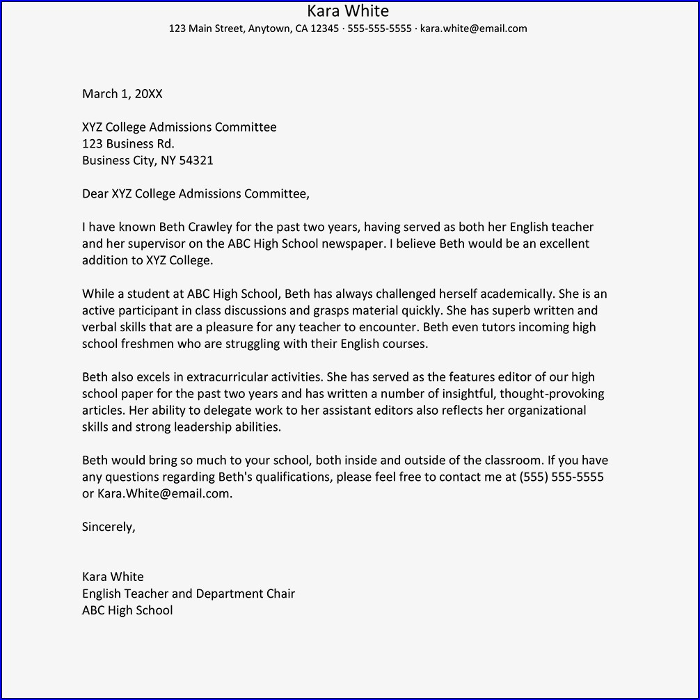 Example of College Recommendation Letter From Teacher