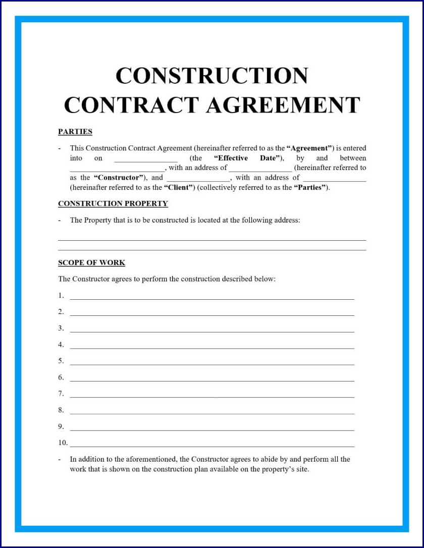 Example of Construction Contract