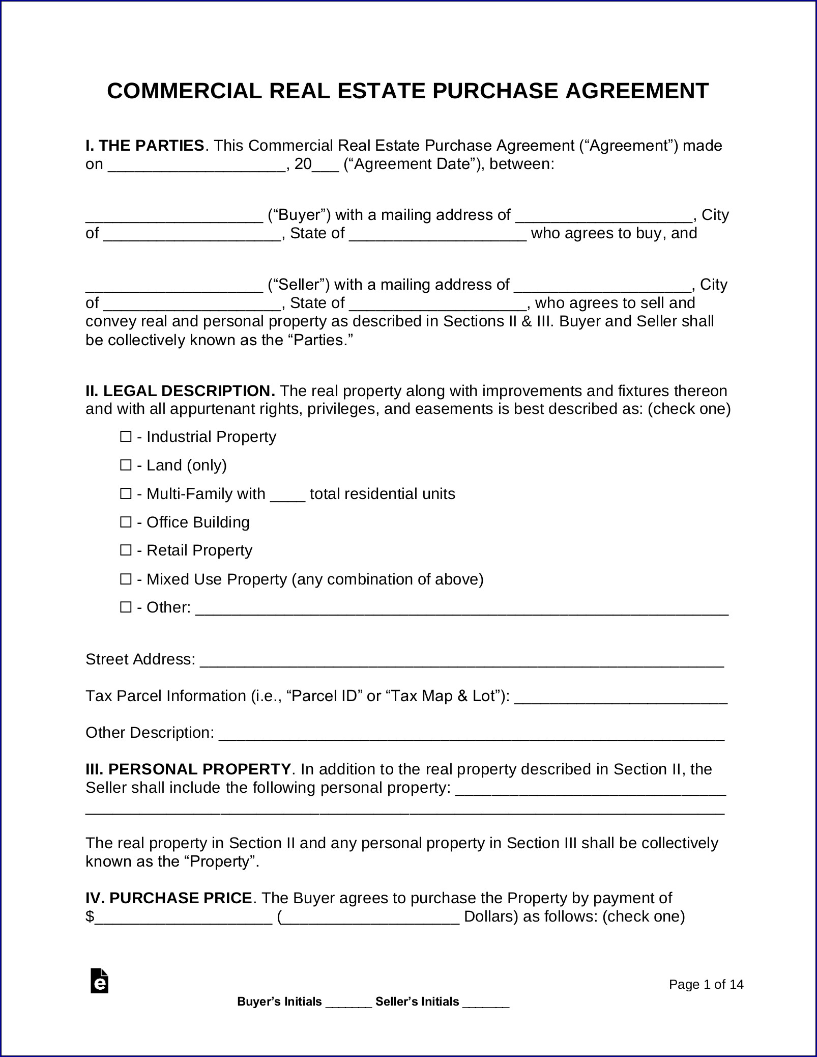 Example of Contract for Buying a House From Owner