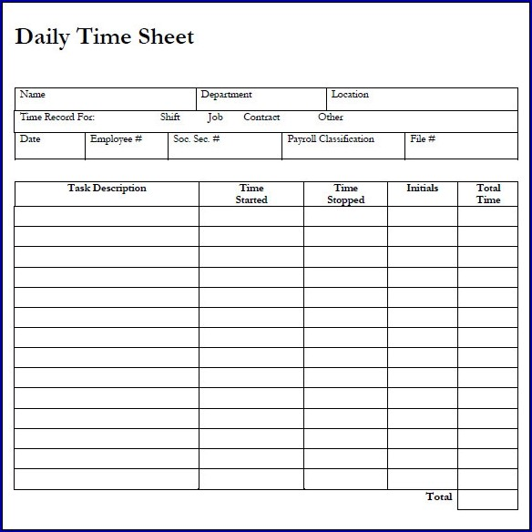 Example of Daily Timesheet