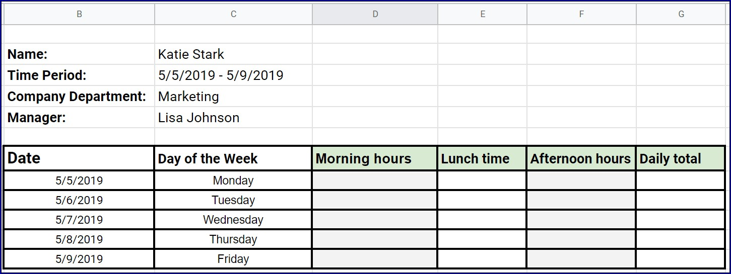 Example of Excel Weekly Timesheet With Formulas