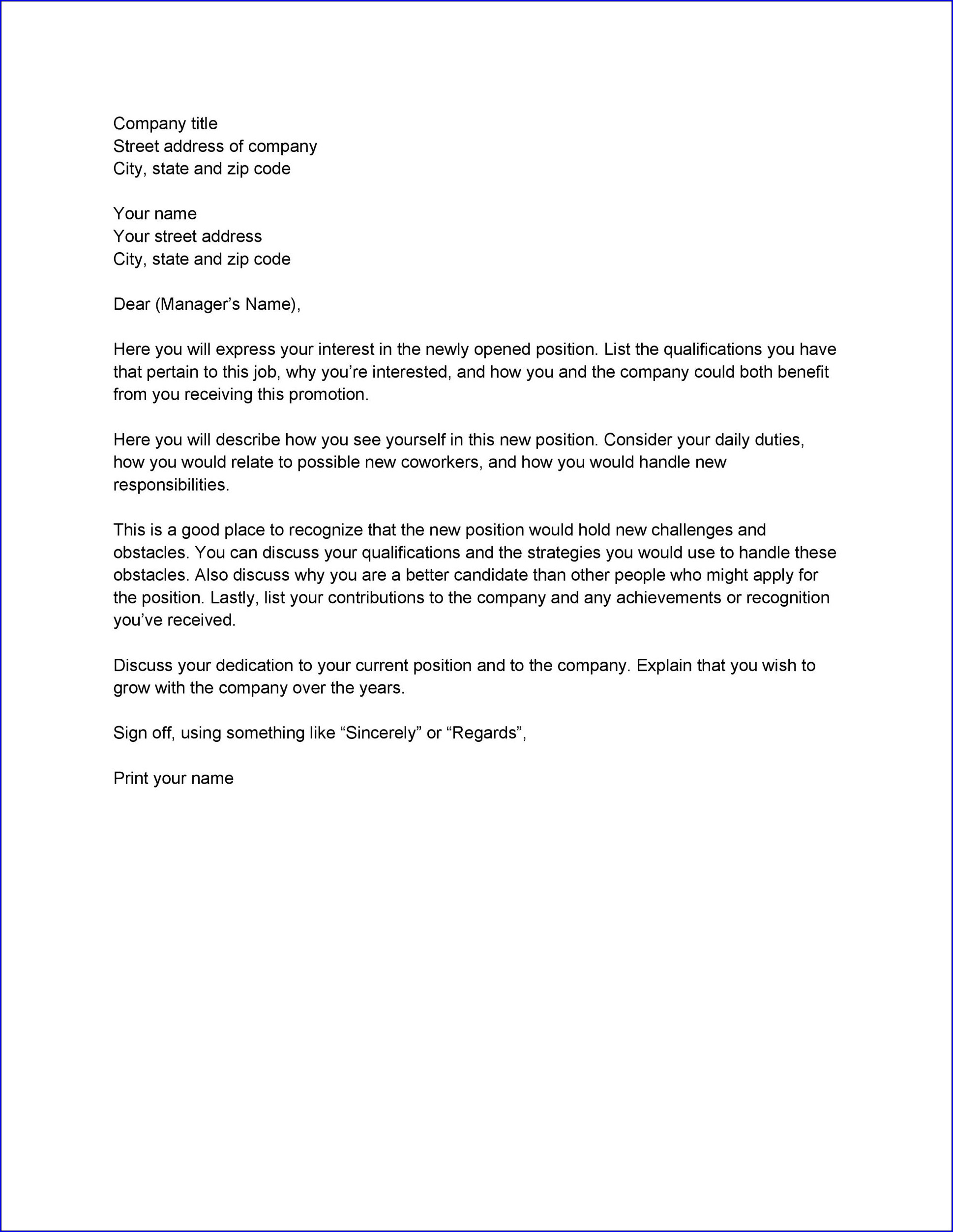 Example of Letter of Interest Template for a Job