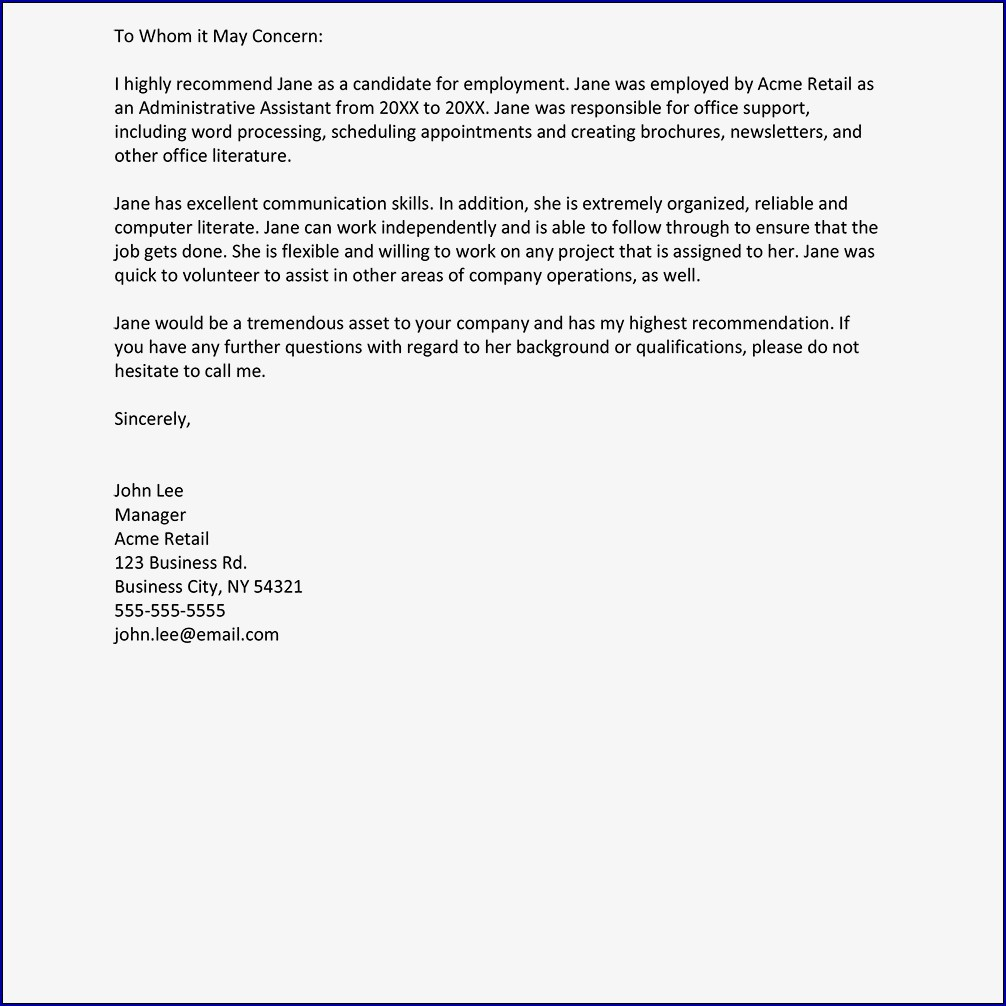 Example of Letter of Recommendation Template for a Job