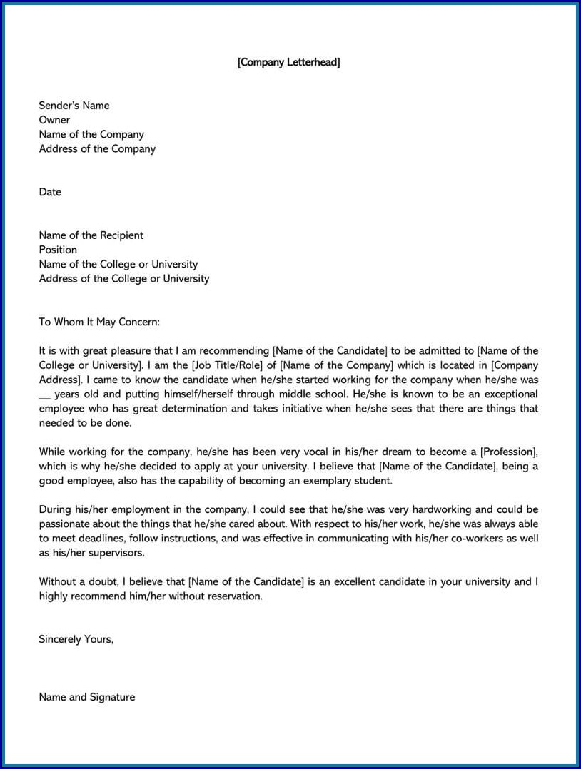 Example of Letterhead Template for Letter of Recommendation