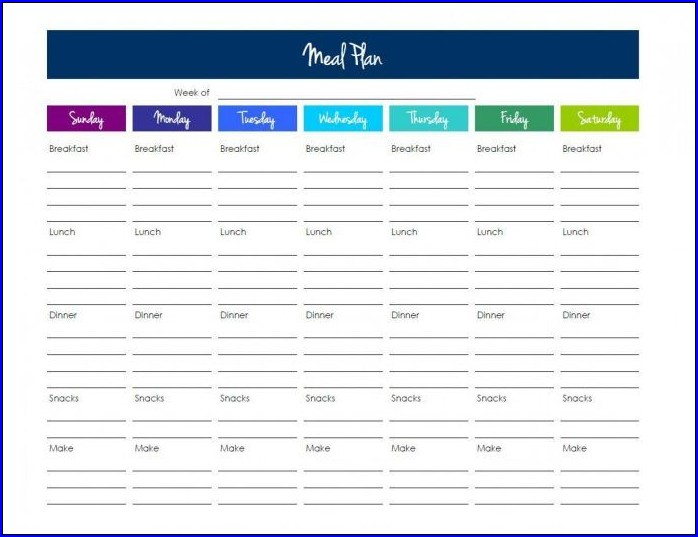Example of Meal Plan Template Excel