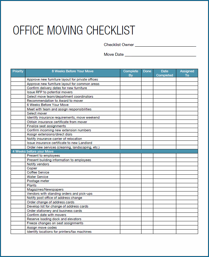 Example of Moving Business Checklist Template