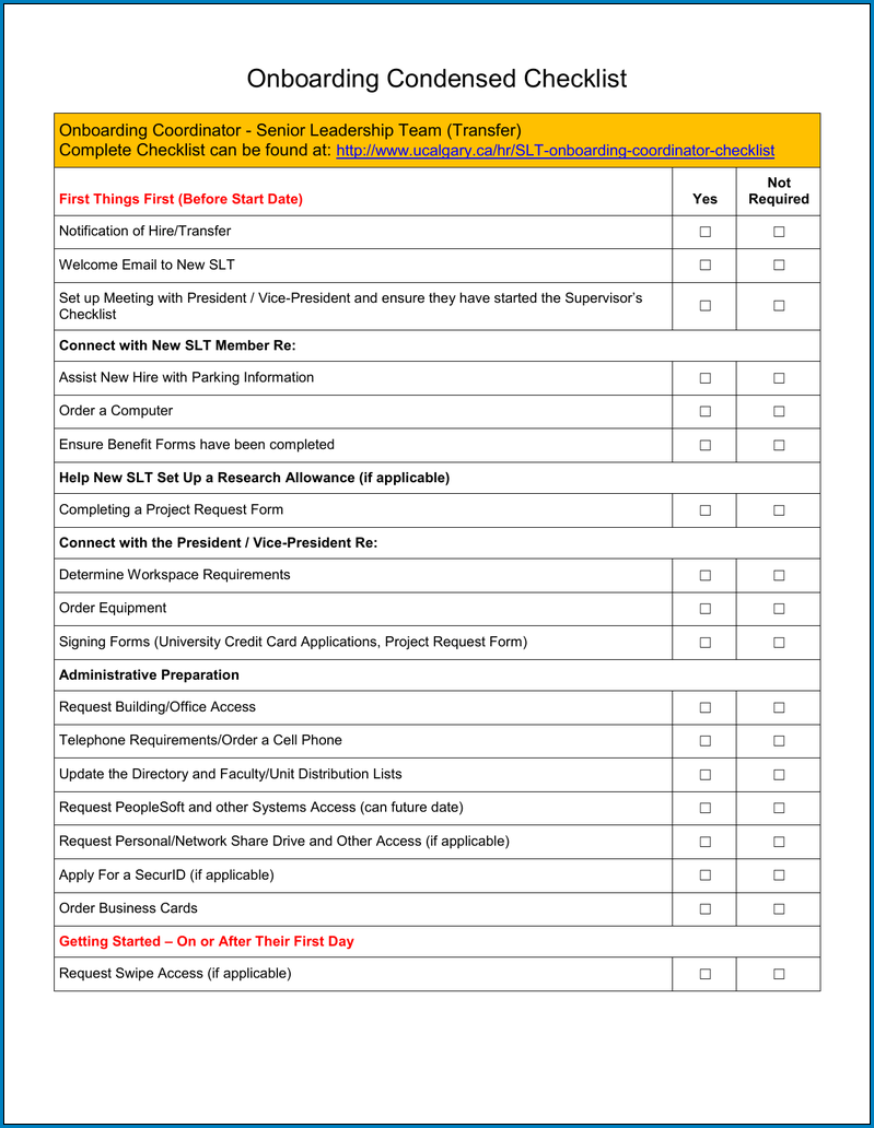 Example of On Boarding Checklist Template