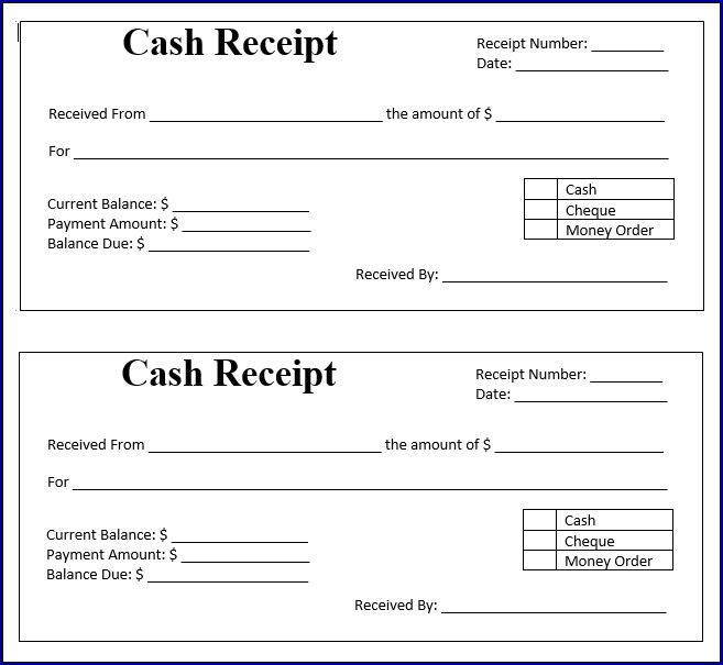 Example of Payment Receipt