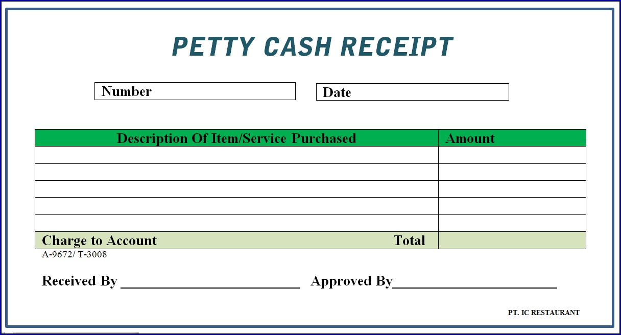 Example of Petty Cash Receipt