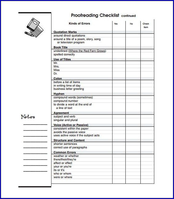 Example of Proofreading Checklist Template