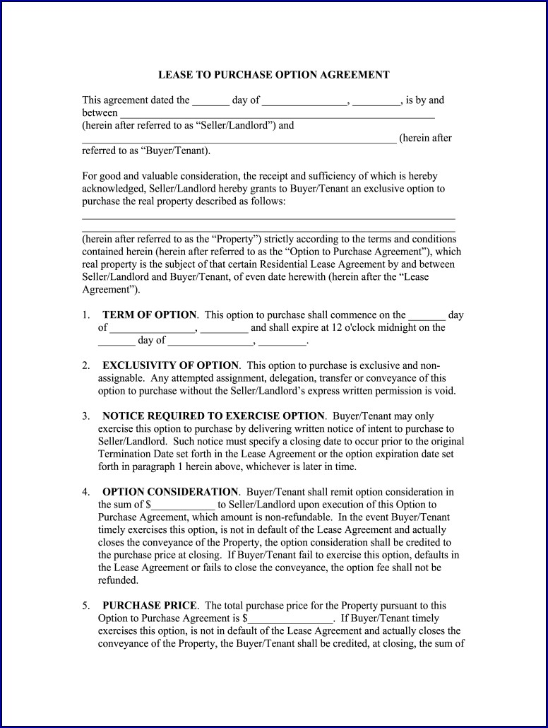 Example of Rent With Option to Buy Contract Form
