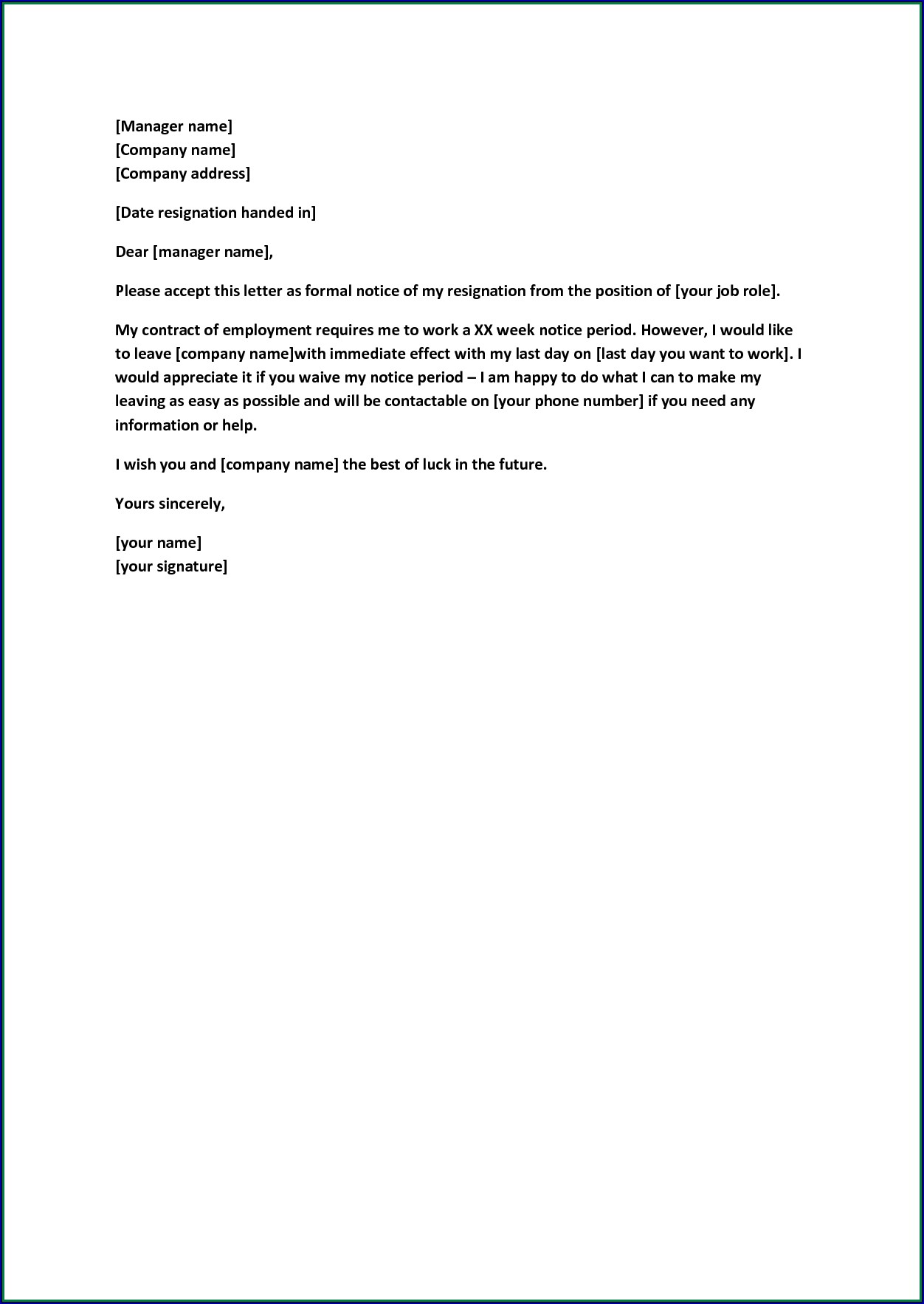Example of Resignation Letter Template Without Notice