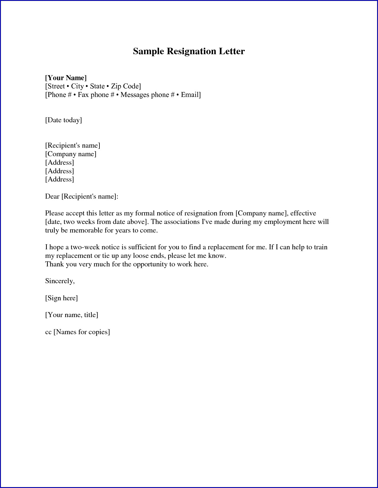Example of Resignation Letter Two Weeks Notice