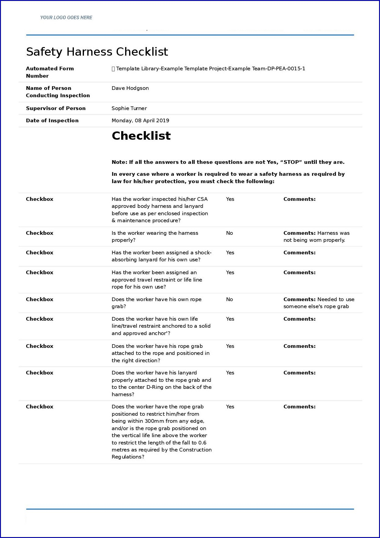 Example of Safety Checklist Template