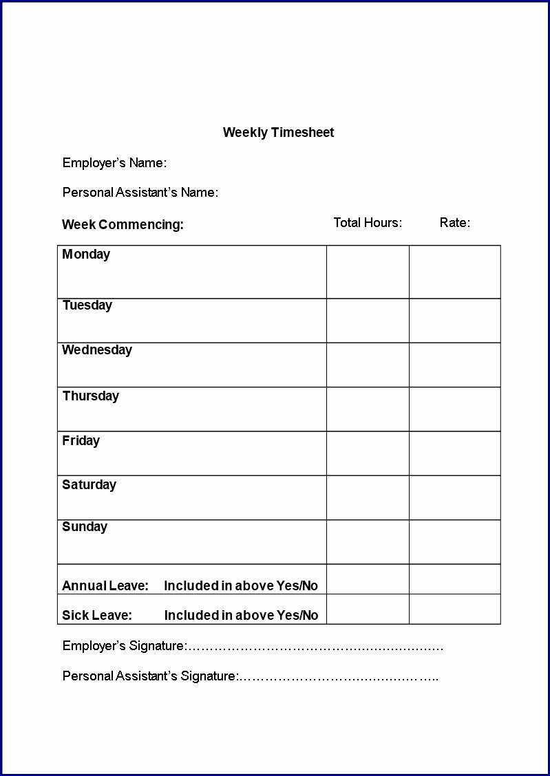 Example of Simple Timesheet Template