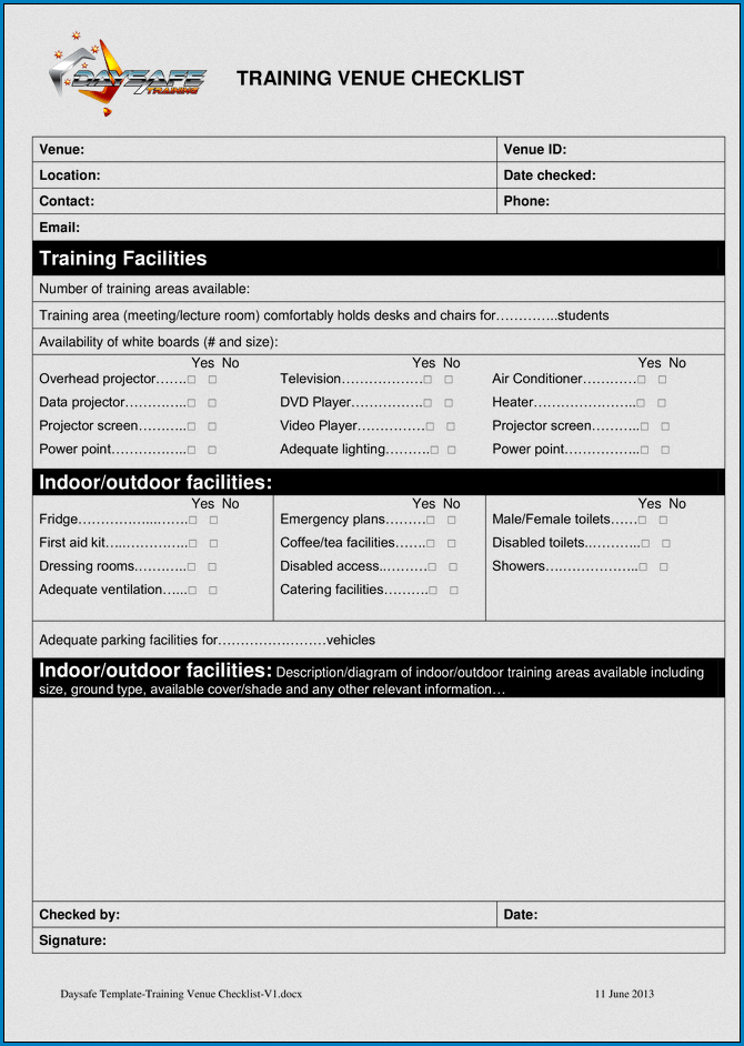 Example of Training Checklist Template