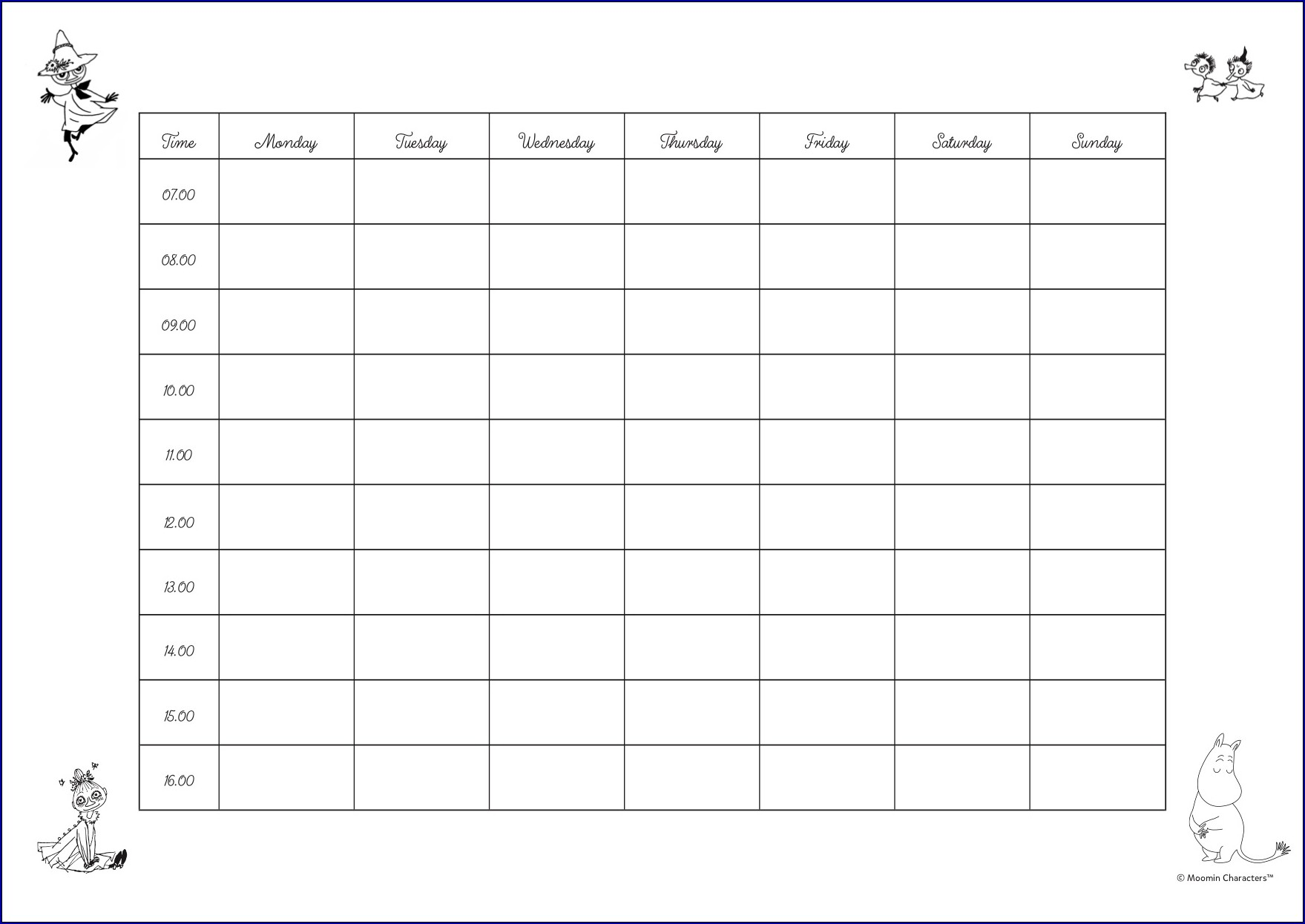 Example of Weekly Timetable
