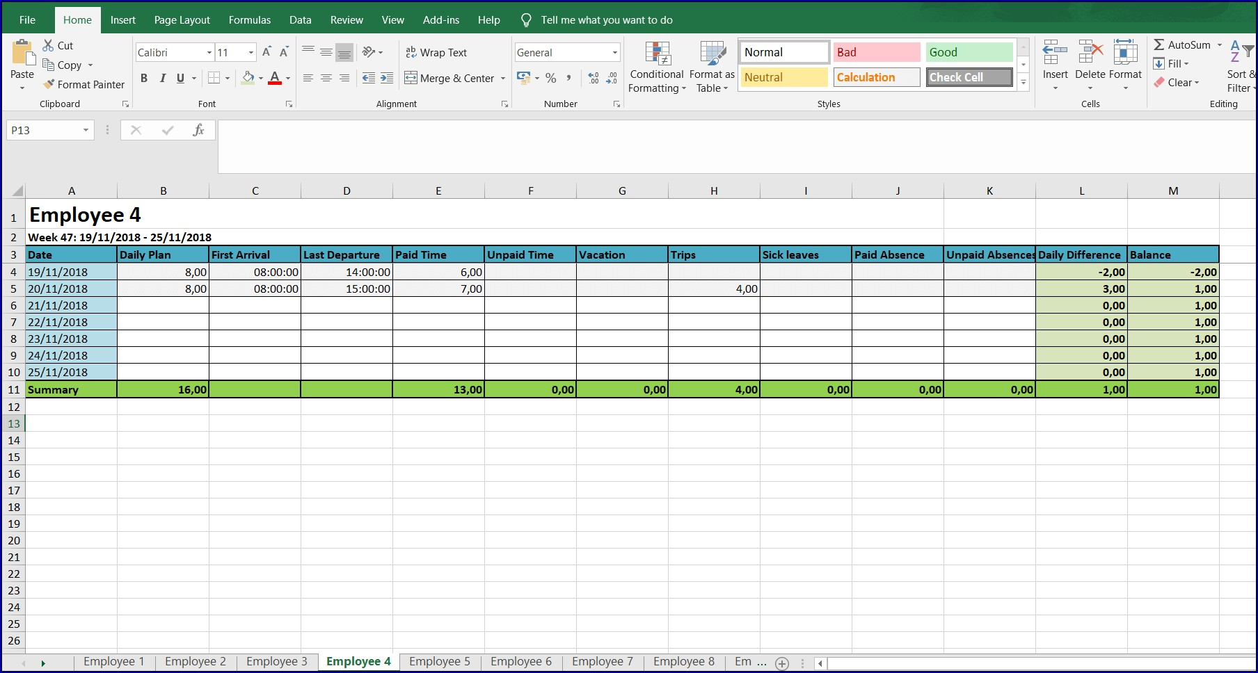 Excel Weekly Timesheet With Formulas Example