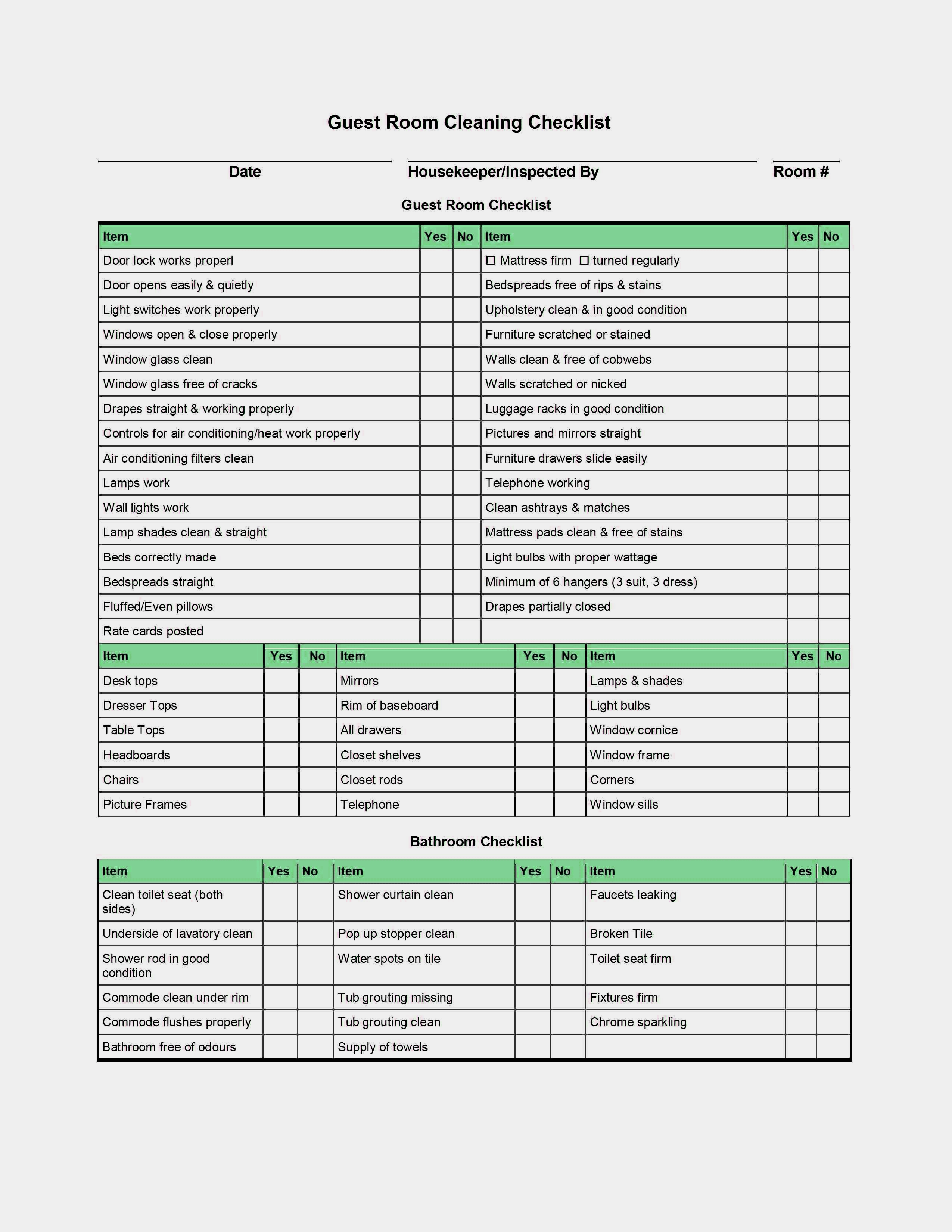 Housekeeper Checklist Template Example