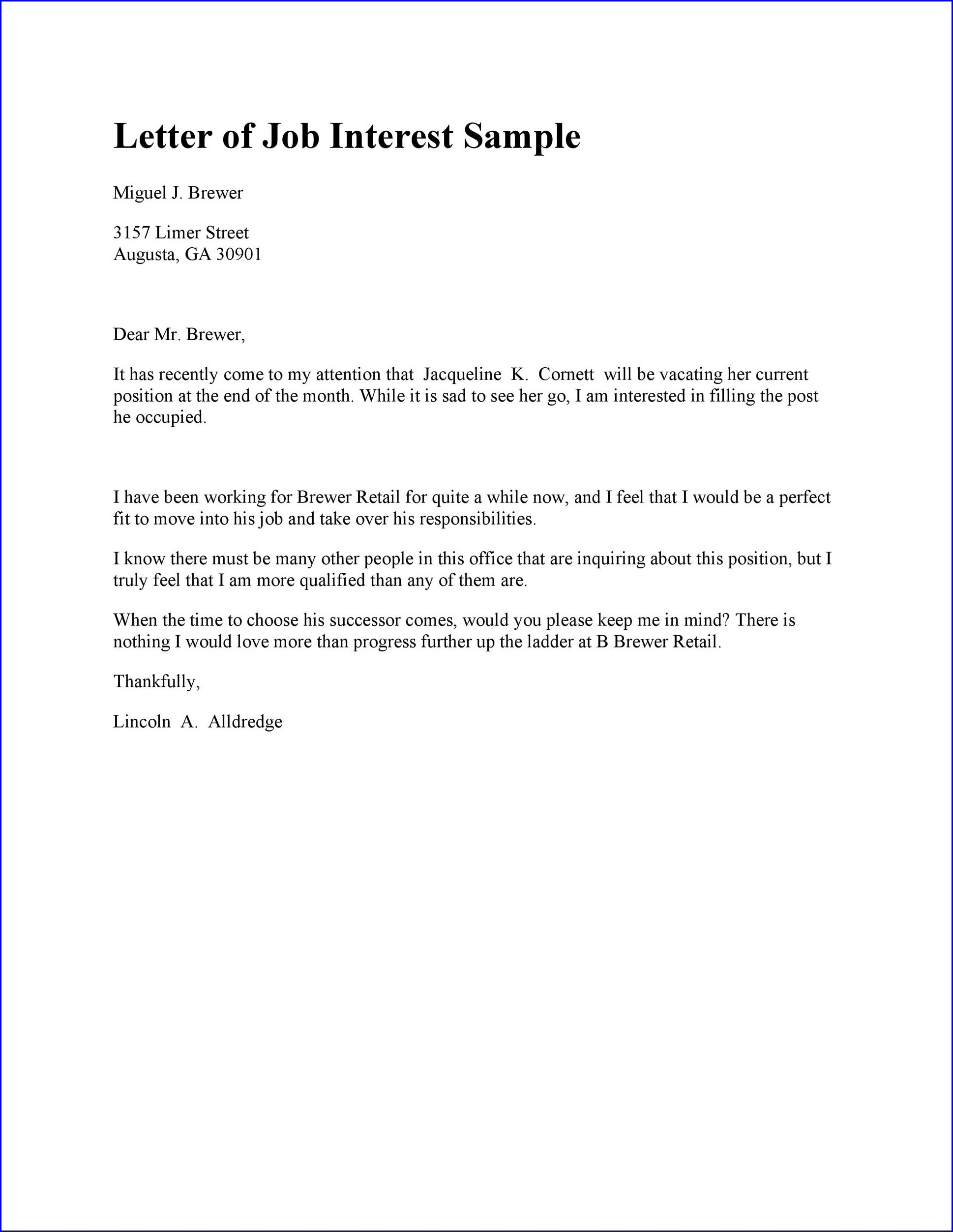 Letter of Interest Template for a Job Example
