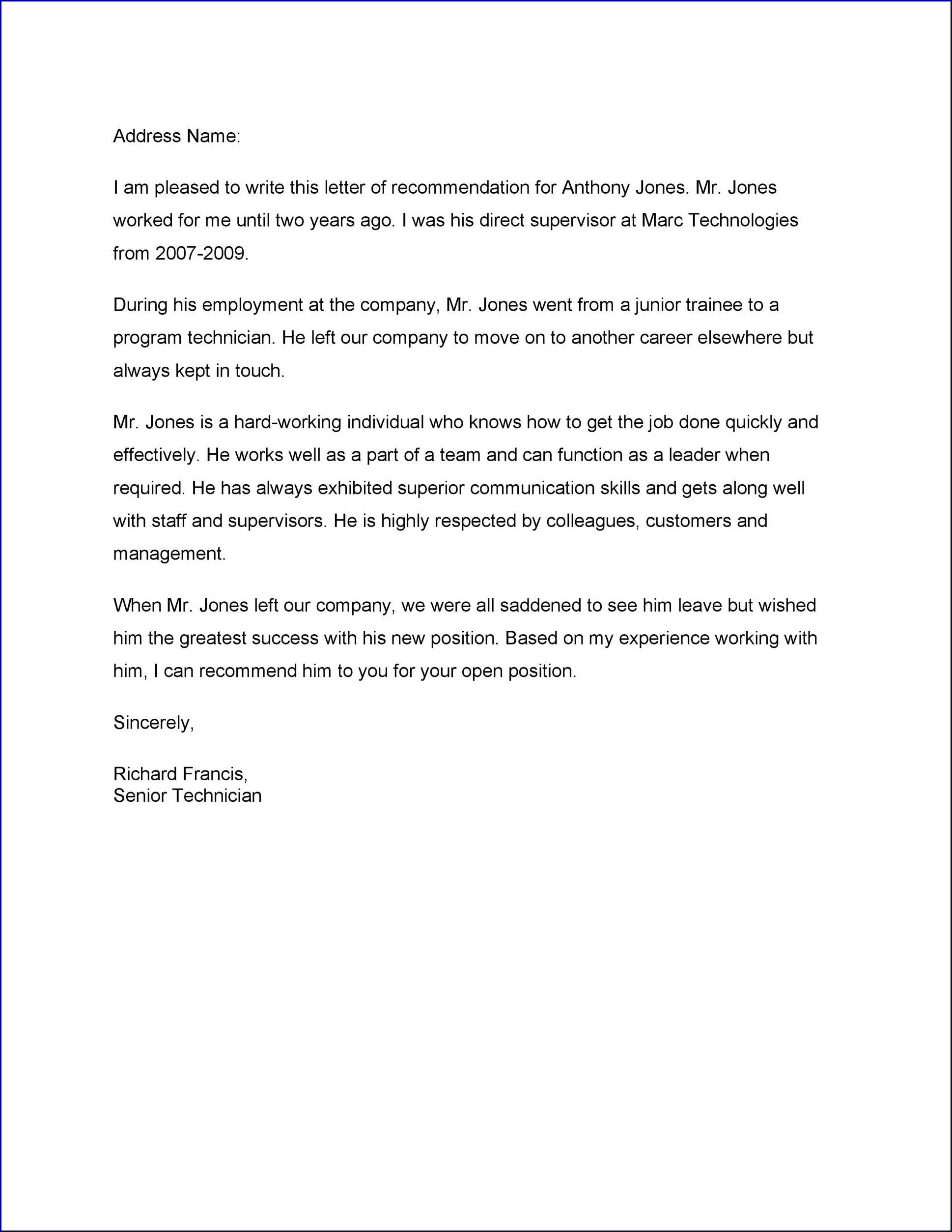 Letter of Recommendation Template for a Job Example