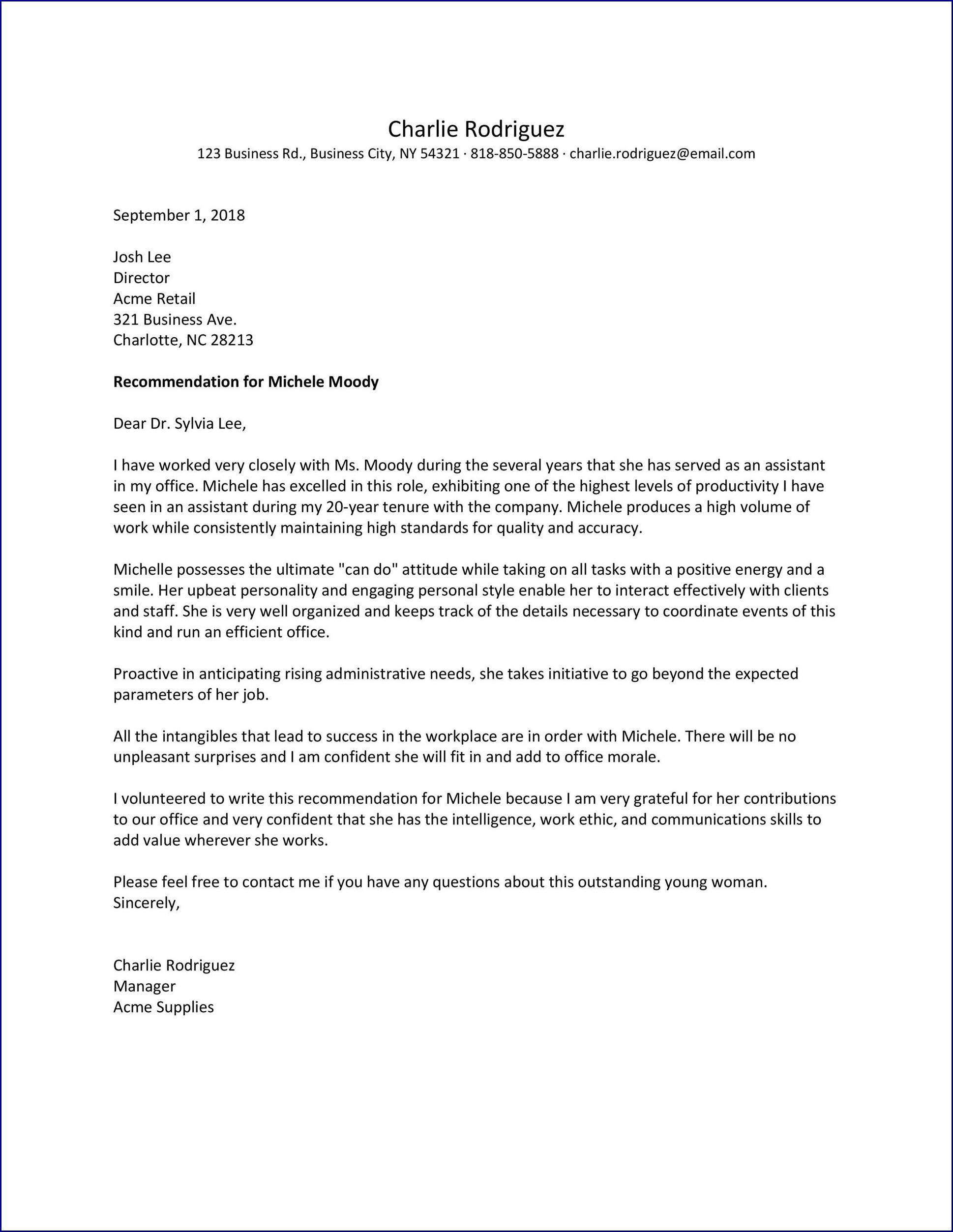 Letter of Recommendation Template for a Job Sample