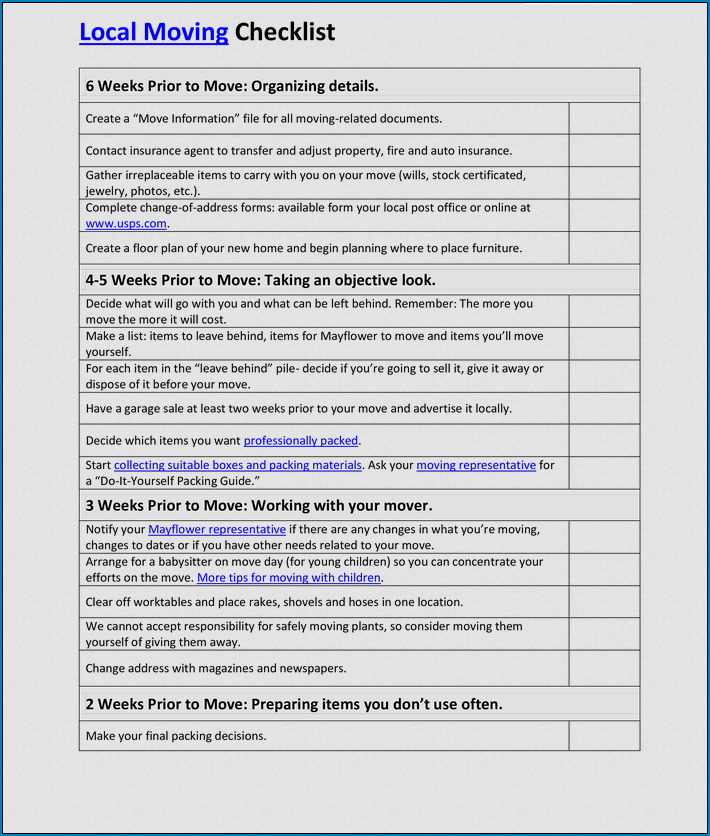 Moving Business Checklist Template Example