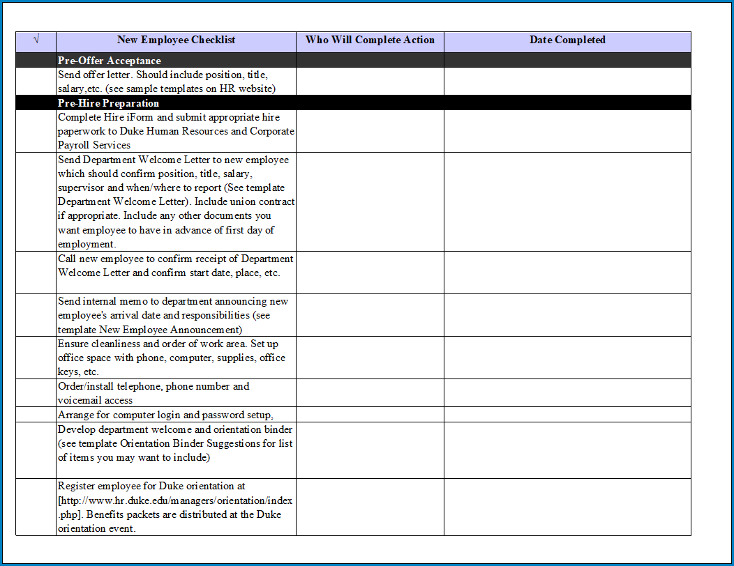 Free Printable On Boarding Checklist Template