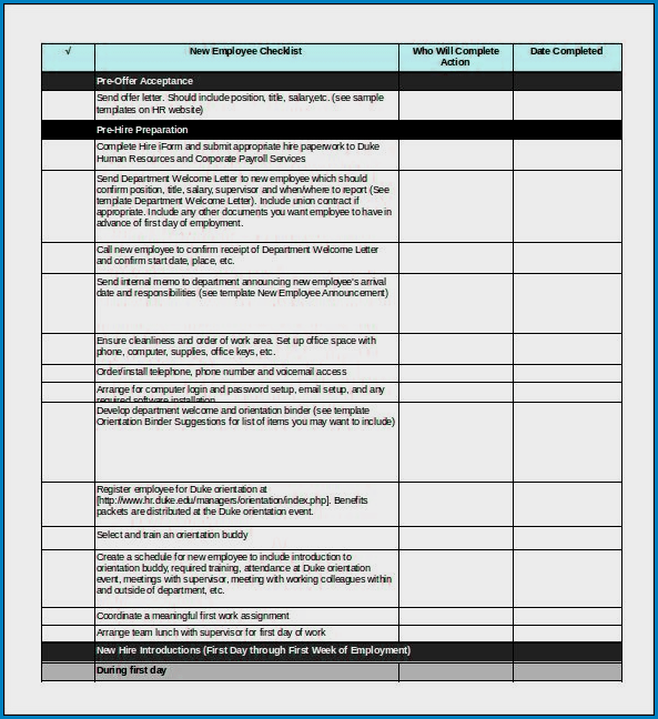 Onboarding Checklist Template Excel Example