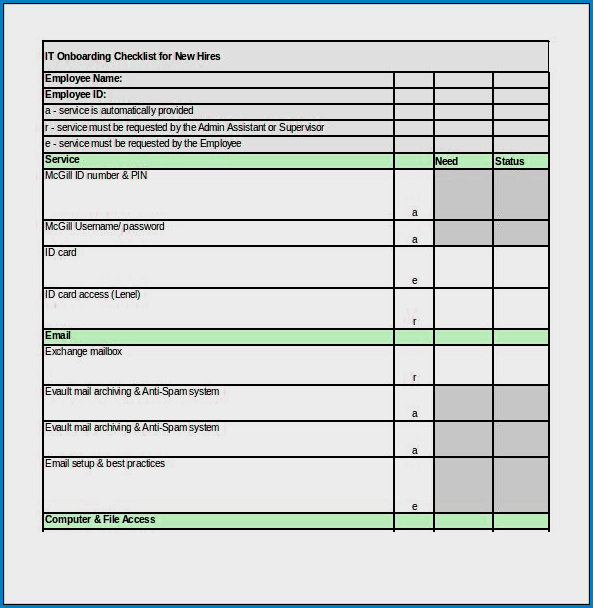 Onboarding Checklist Template Excel Sample