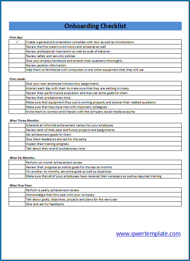Onboarding Checklist Template Excel