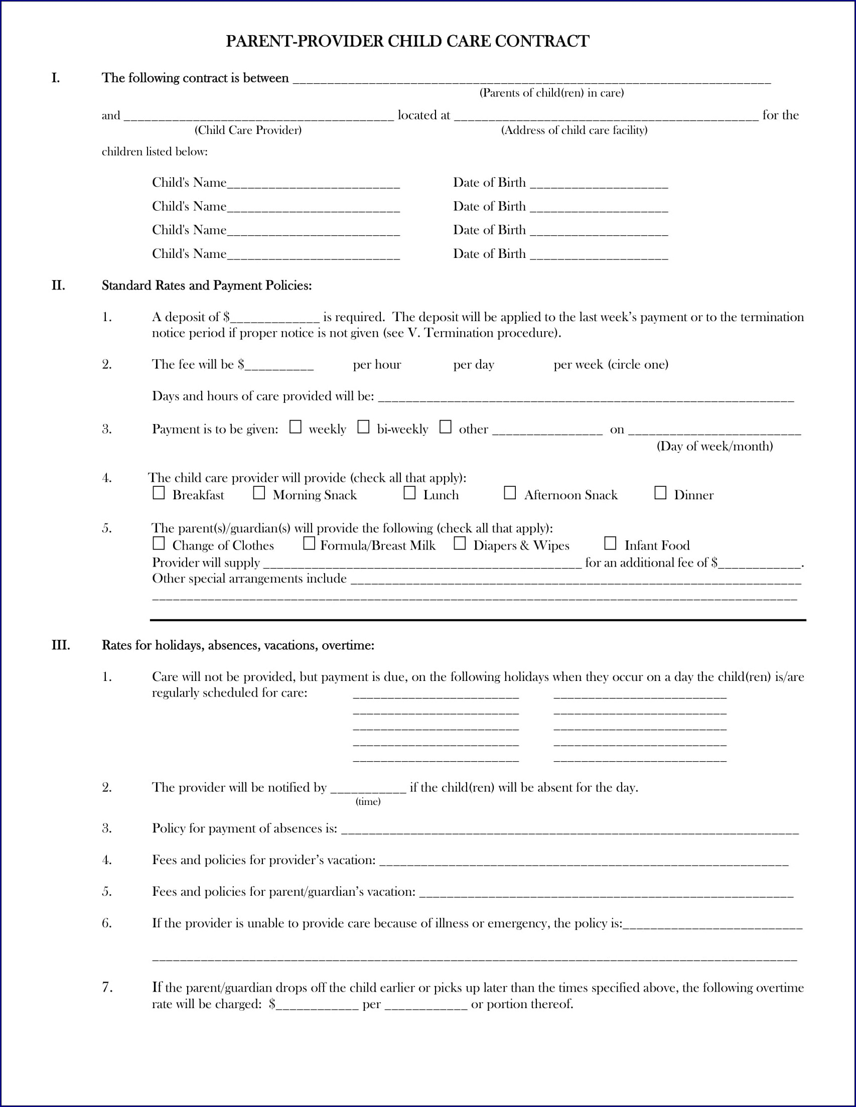 Parent Child Contract Sample
