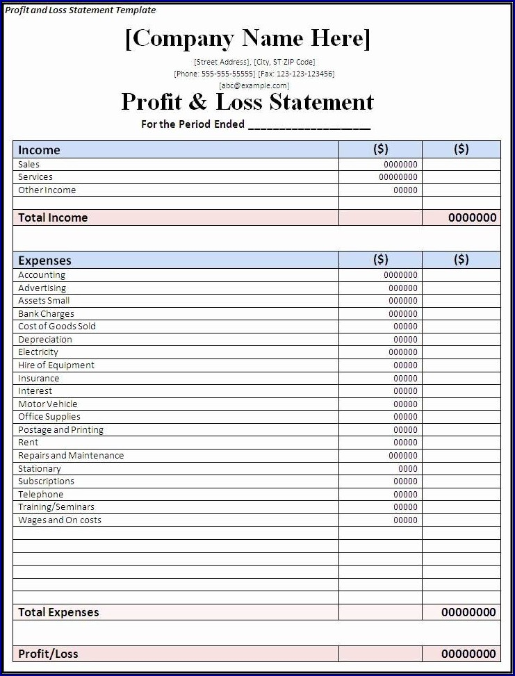 Profit and Loss Statement Format Sample