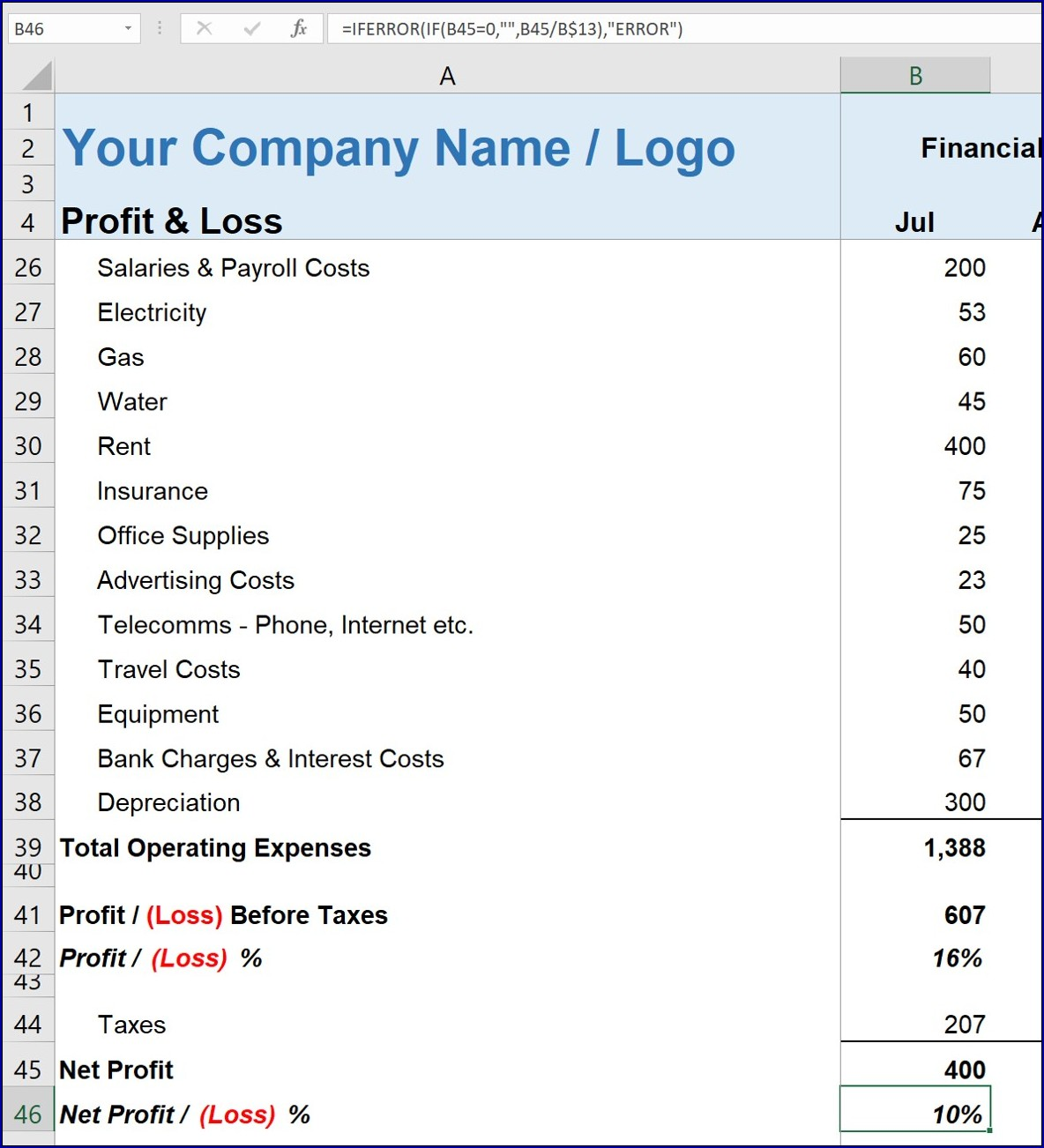 Profit and Loss for Self Employed Example