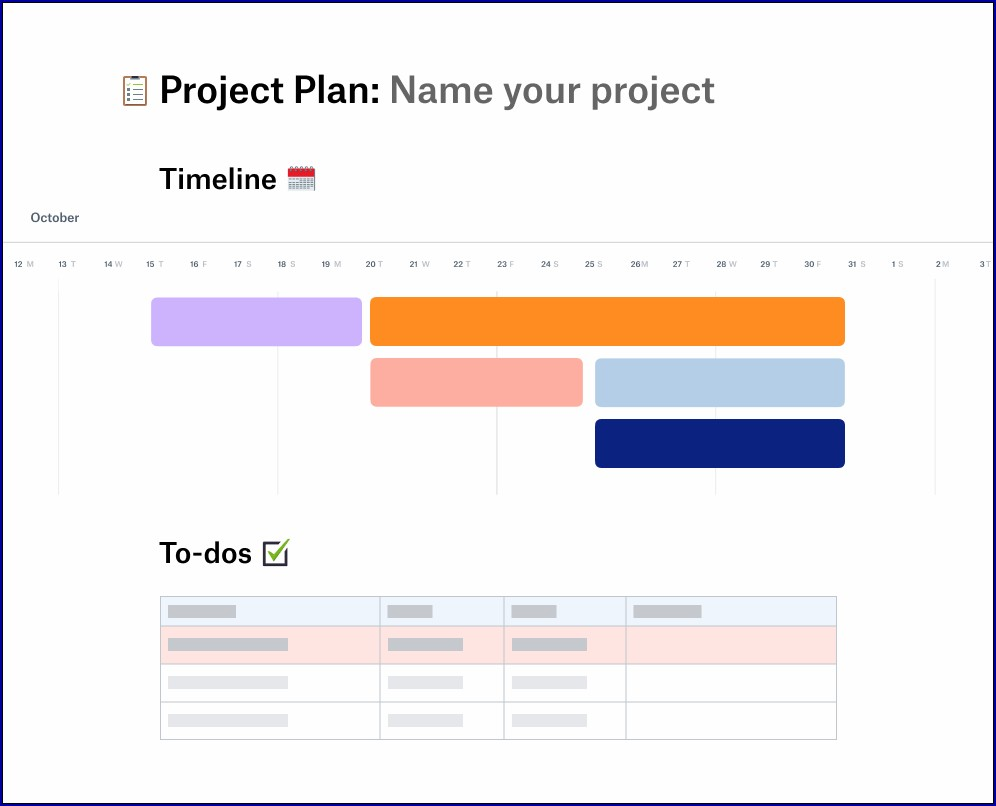 Project Plan Timeline Example